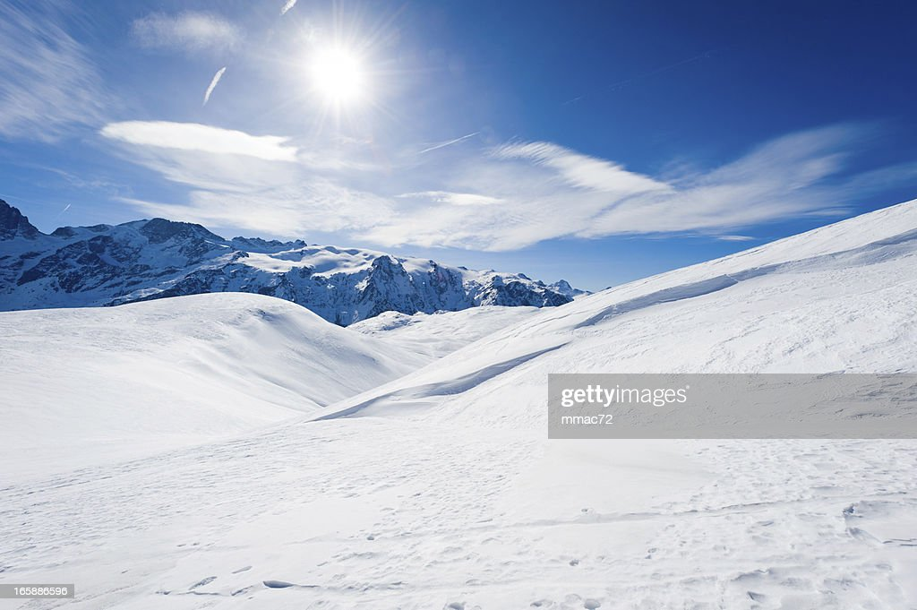 High mountain landscape with sun : Stock Photo