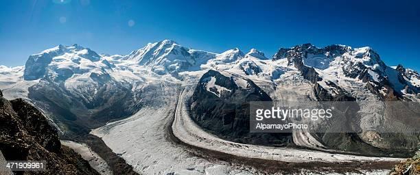 alte montagne delle alpi pennine in svizzera (panoramica)-iii - monte rosa foto e immagini stock
