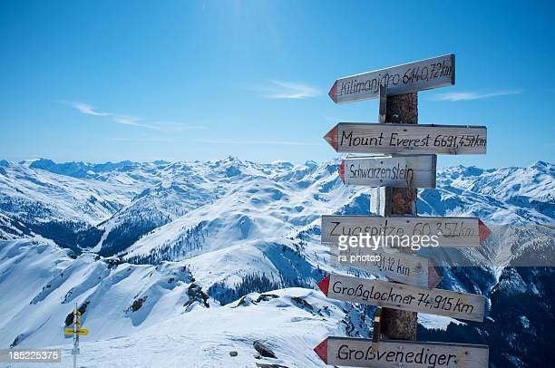 High mountains sign in the Alps