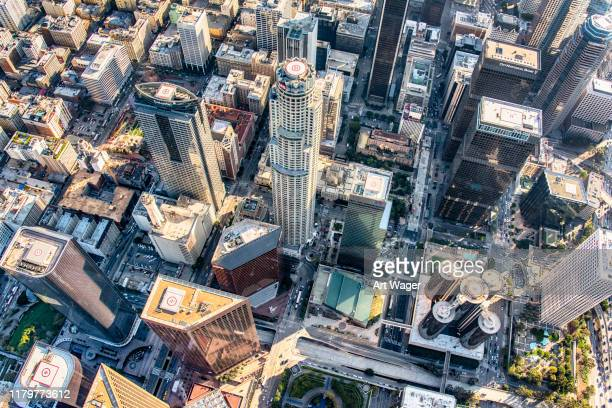 high over downtown los angeles - downtown stock pictures, royalty-free photos & images