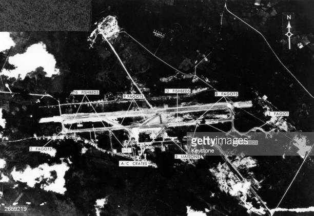 High performance X1G-21 aircraft and sites being prepared for Soviet missiles deployed by Khrushchev at an airfield in Cuba during the Cuban Missile...
