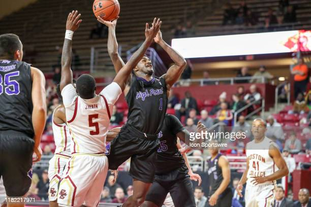 High Point Panthers guard JohnMichael Wright jumps for a quick two point score during the game between Boston College Eagles and the High Point...