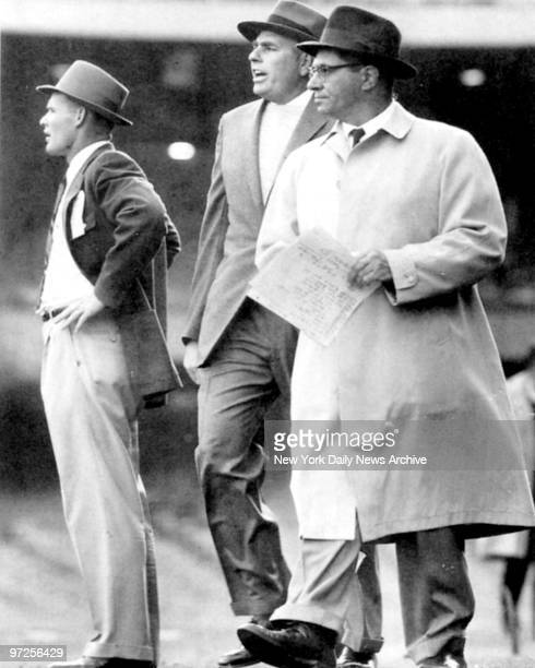 High powered trio plot Giant strategy defense coach Tom Landry head coach Jim Lee Howell and offense coach Vince Lombardi perhaps the greatest duo...