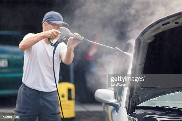High pressure cleaning the car