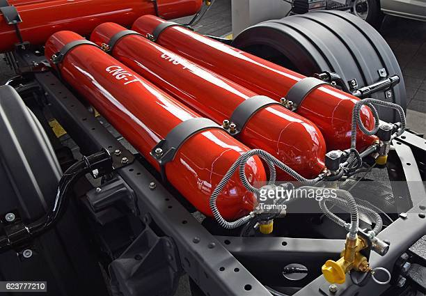 High pressure CNG cylinder tanks in the truck chassis