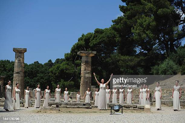 High Priestess Ino Menegaki performs at the Temple of Hera during the Lighting Ceremony of the Olympic Flame at Ancient Olympia on May 10 2012 in...