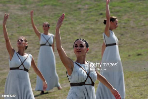 High priestess perform at the Temple of Hera during a dressed rehearsal of the lighting ceremony of the Olympic flame in ancient Olympia on October...