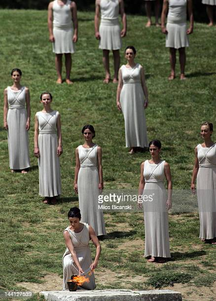 High Priestress Ino Menegaki performs during the London 2012 Olympic Torch during the Lighting Ceremony of the Olympic Flame at Ancient Olympia on...