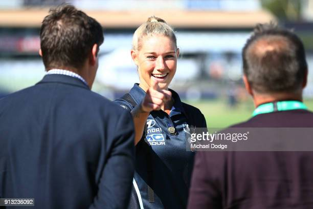 High profile recruit Tayla Harris of the Blues arrives excited for the round one AFLW match between the Carlton Blues and the Collingwood Magpies at...