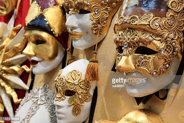 High quality carnival masks hanging on the wall
