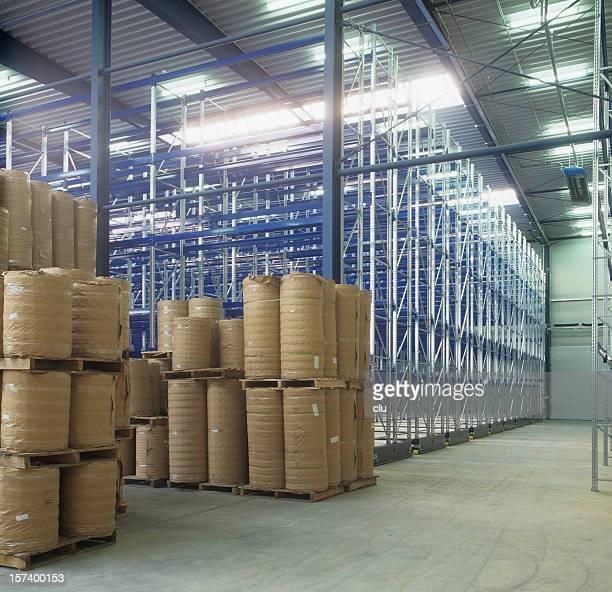 High rack storage warehouse illuminated