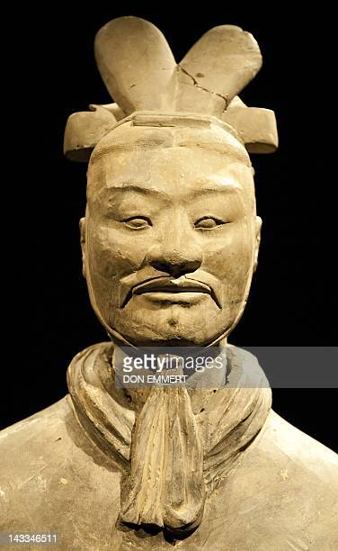 A high ranking officer is displayed as part of China's Terracotta Warriors display April 24 2012 at Discovery Times Square in New York The exhibit of...