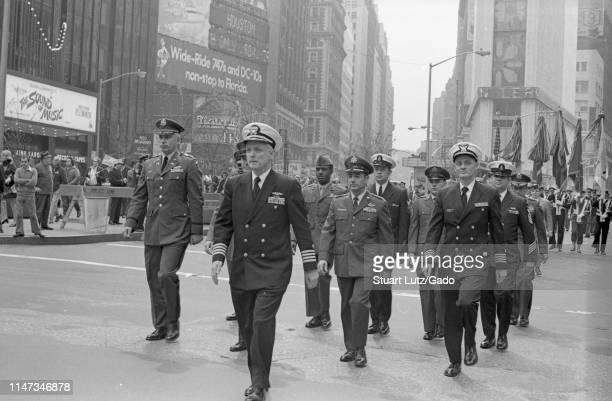 High ranking officers, wearing uniforms, march in the street participating in the Vietnam War-related Home With Honor Parade, New York City, New...