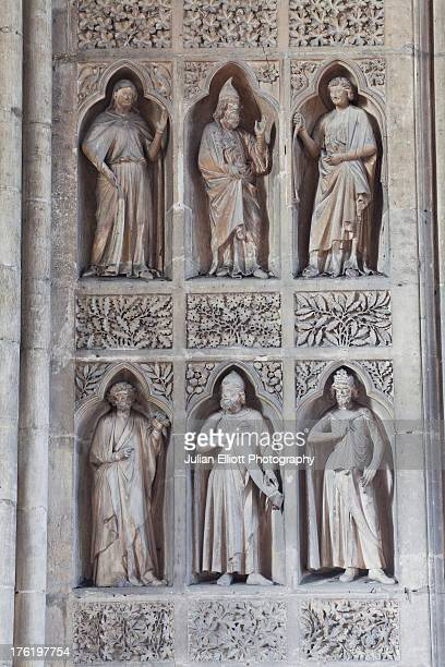High relief stone sculptures in Reims cathedral.