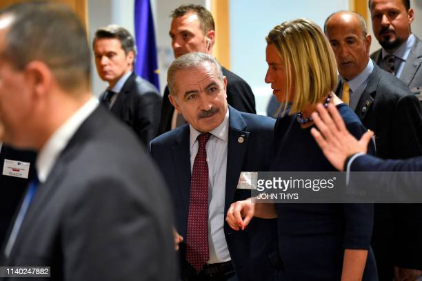 High Representative Federica Mogherini arrives with Palestinian Prime Minister Mohammad Shtayeh before their annual spring meeting of the...