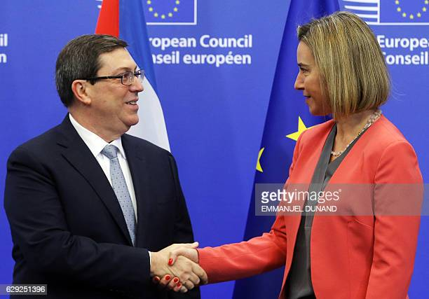 High Representative for Foreign Affairs Federica Mogherini welcomes Cuban Foreign Minister Bruno Rodriguez Parrilla at the start of an EU-Cuba...