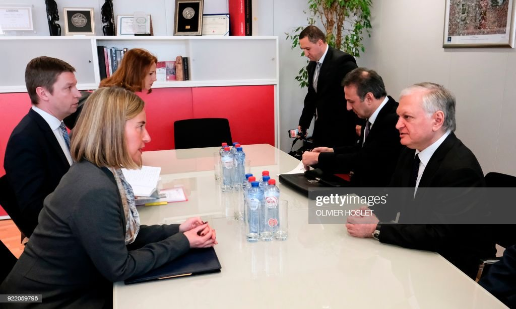 EU High representative for foreign policy Federica Mogherini (L) meets with Armenia's Minister of Foreign Affairs Edward Nalbandian (R) in Brussels on February 21, 2018. /