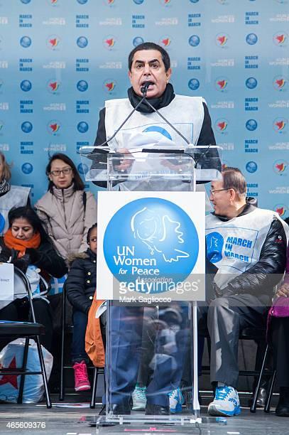 High Representative Nassir AlNasser attends the 2015 International Women's Day March at Dag Hammarskjold Plaza on March 8 2015 in New York City