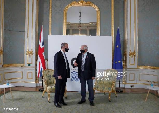 High Representative of the EU for Foreign Affairs Josep Borrell and Dominic Raab, British Secretary of State for Foreign Affairs, meet ahead of...