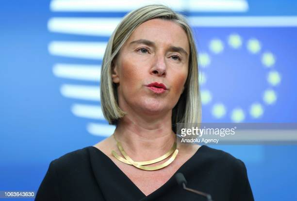 High Representative of the European Union for Foreign Affairs and Security Policy Federica Mogherini holds a press conference in Brussels Belgium on...