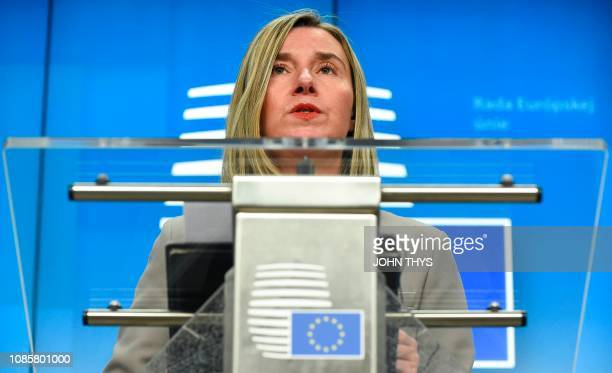 High Representative of the European Union for Foreign Affairs and Security Policy Federica Mogherini gives a joint press conference during a Foreign...
