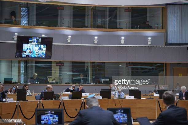 High Representative of the European Union for Foreign Affairs and Security Policy Josep Borrell leads EU Foreign Ministers' video conference meeting...