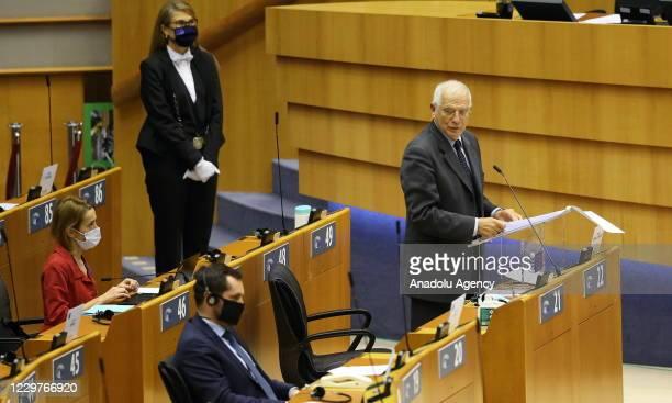 High Representative of the European Union for Foreign Affairs and Security Policy Josep Borrell makes a speech at the plenary session of the European...