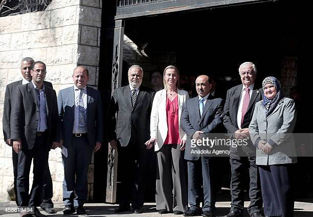 High Representative of the European Union for Foreign Affairs and Security Policy Federica Mogherini poses with Minister of Public Works Muhammad...