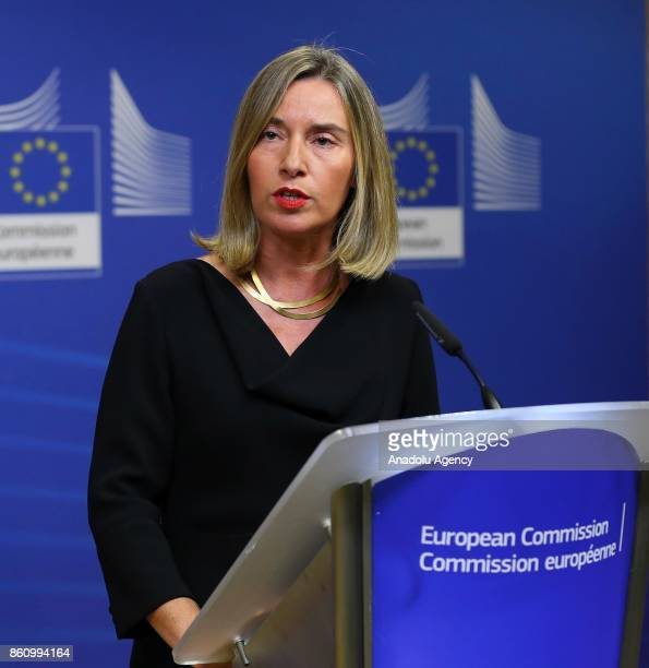 High Representative of the European Union for Foreign Affairs and Security Policy Federica Mogherini holds a press conference on the latest...