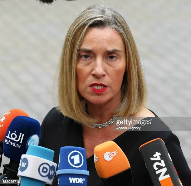 High Representative of the European Union for Foreign Affairs and Security Policy Federica Mogherini speaks to press ahead of the European Council...