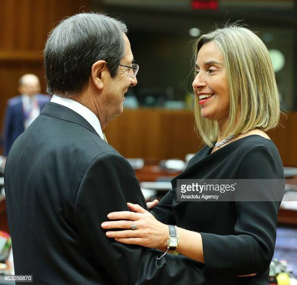 High Representative of the European Union for Foreign Affairs and Security Policy Federica Mogherini and Greek Cypriot leader Nikos Anastasiadis...