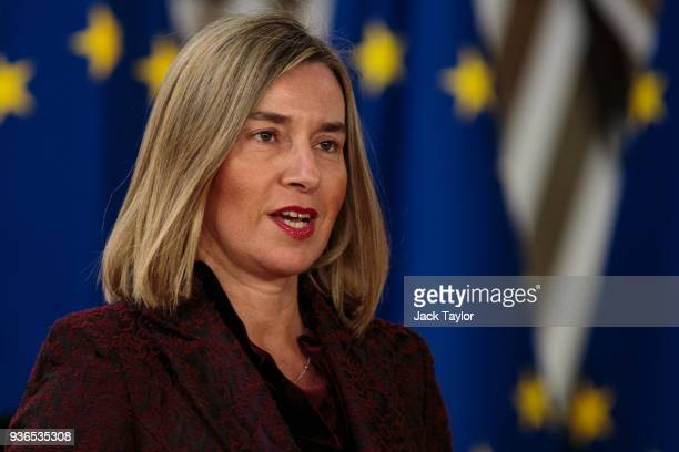 High Representative of the European Union for Foreign Affairs and Security Policy Federica Mogherini arrives at the Council of the European Union for...