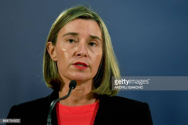 High Representative of the European Union for Foreign Affairs and Security Policy Federica Mogherini speaks during a joint press conference with...