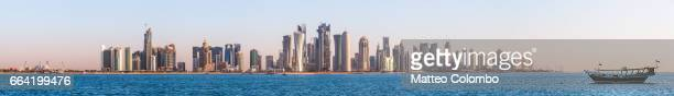 High res panoramic of Doha skyline at sunset, Qatar