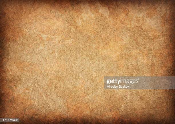 high resolution ancient animal skin parchment vignette grunge texture - brown stock pictures, royalty-free photos & images