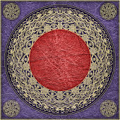 High Resolution Animal-skin Purple Parchment with Rosette-shaped Arabesque Gilded Pattern