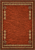 High Resolution Animal-skin Red Parchment with Decorative Gilded Arabesque Pattern