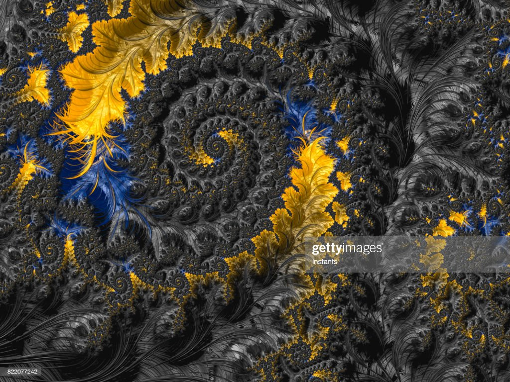 High resolution black, blue and yellow abstract fractal background. : Stock Photo