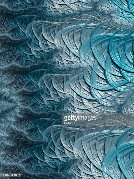 High resolution blue and gray fractal background, which patterns remind those of fish scales.