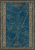 High Resolution Blue Animal-skin Parchment with Arabesque Gilded Decorative Pattern