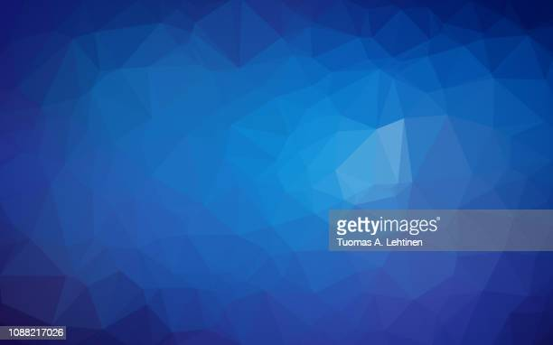 High resolution blue polygon mosaic vector background. Abstract 3D triangular low poly style gradient background.