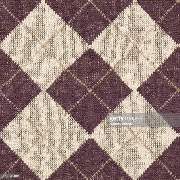 High Resolution Brown Knitted Fabric Argyle Seamless Rhomboid Pattern