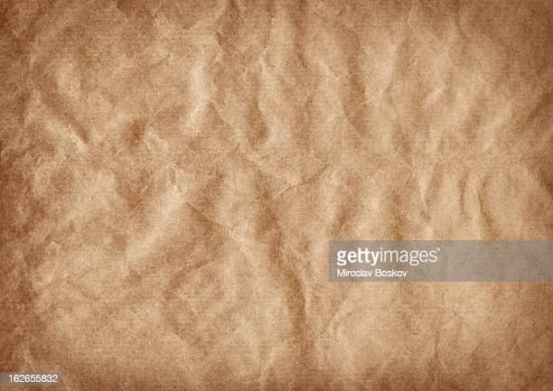 high resolution brown kraft paper crumpled vignette grunge texture - grocery bag stock pictures, royalty-free photos & images