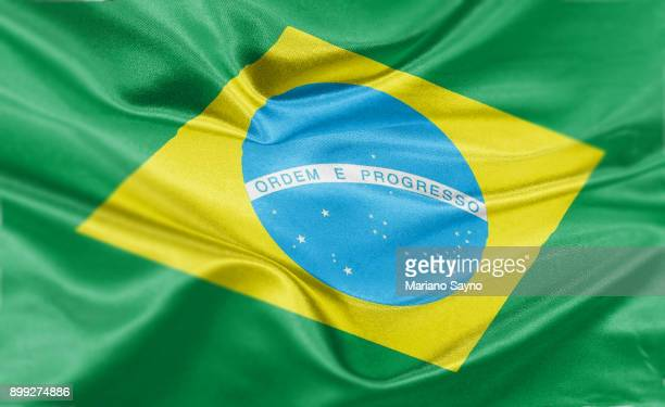 high resolution digital render of brazil flag - brasilien stock-fotos und bilder