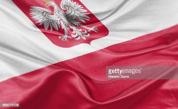 high resolution digital render of poland flag - poland stock pictures, royalty-free photos & images
