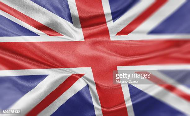 high resolution digital render of united kingdom flag - vereinigtes königreich stock-fotos und bilder