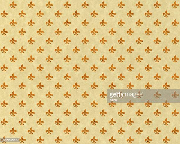 high resolution fleur de lis on beige paper - franse cultuur stockfoto's en -beelden