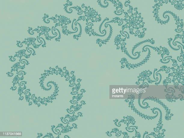 high resolution fractal background in pale and darker green tones, which patterns remind those of an embroidered fabric. - motivo floreale foto e immagini stock