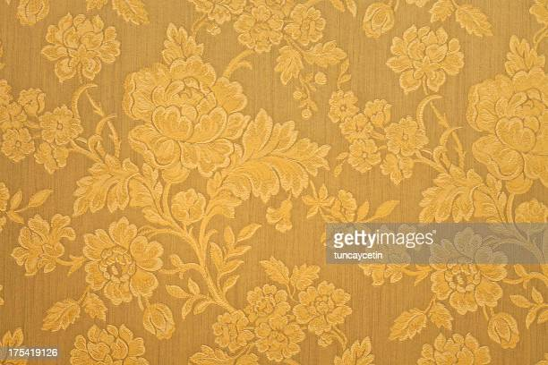 high resolution gold background with floral pattern - victorian wallpaper stock pictures, royalty-free photos & images