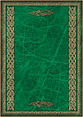 High Resolution Green Animal-skin Parchment with Arabesque Gilded Decorative Pattern